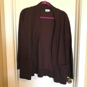 Sweaters - Women's brown open front cardigan w/pockets Sz xL